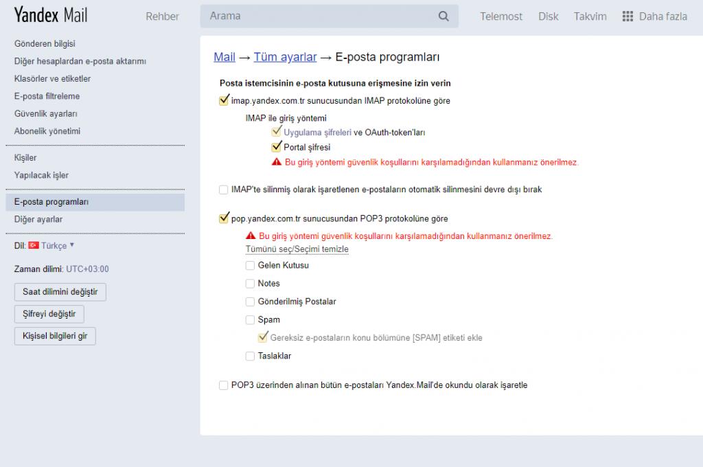 Yandex Mail Outtlook Ayarları